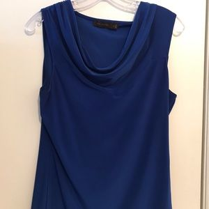 Blue Sleeveless Top with Draping at Neck